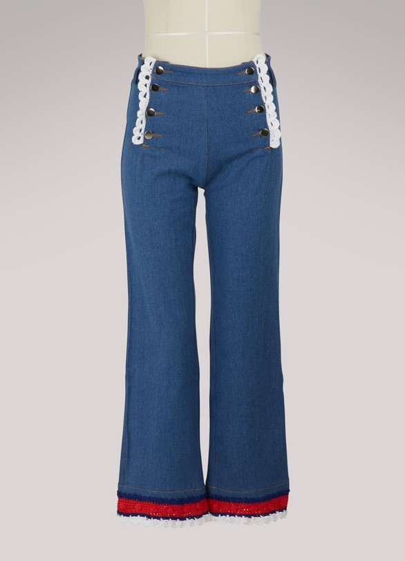 Michaela Buerger Jeans with knitted detailing