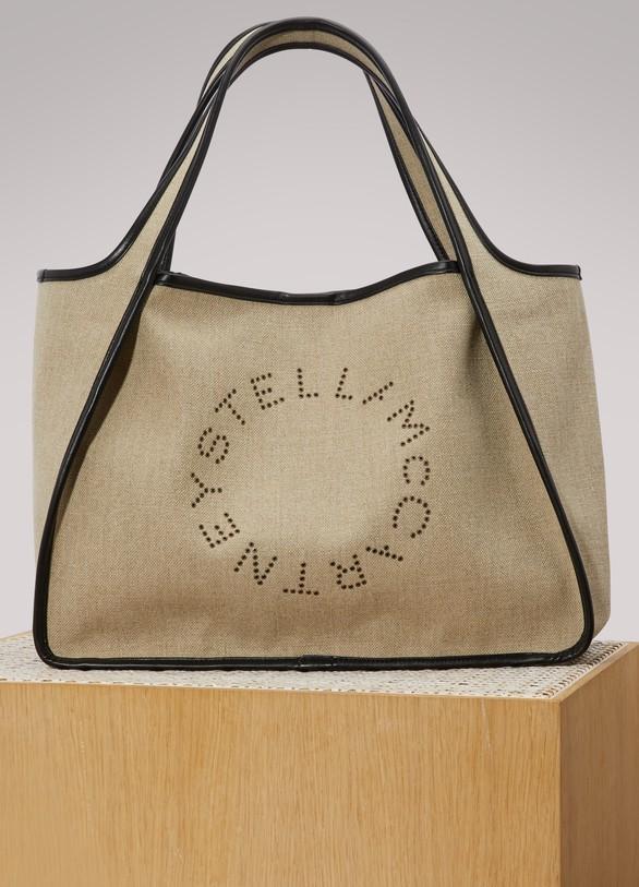 Stella McCartneyTote bag à logo en lin