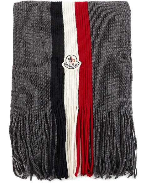 MONCLER Striped wool scarf.