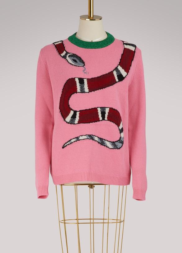 GucciPull en maille de laine avec serpent