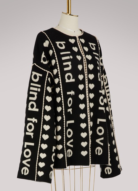 GUCCI Manteau en laine avec inscription « Blind for Love » en jacquard