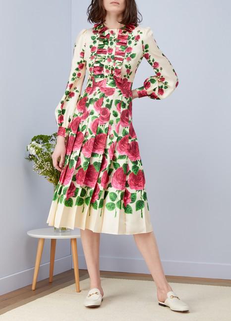 GucciRobe en soie roseraie