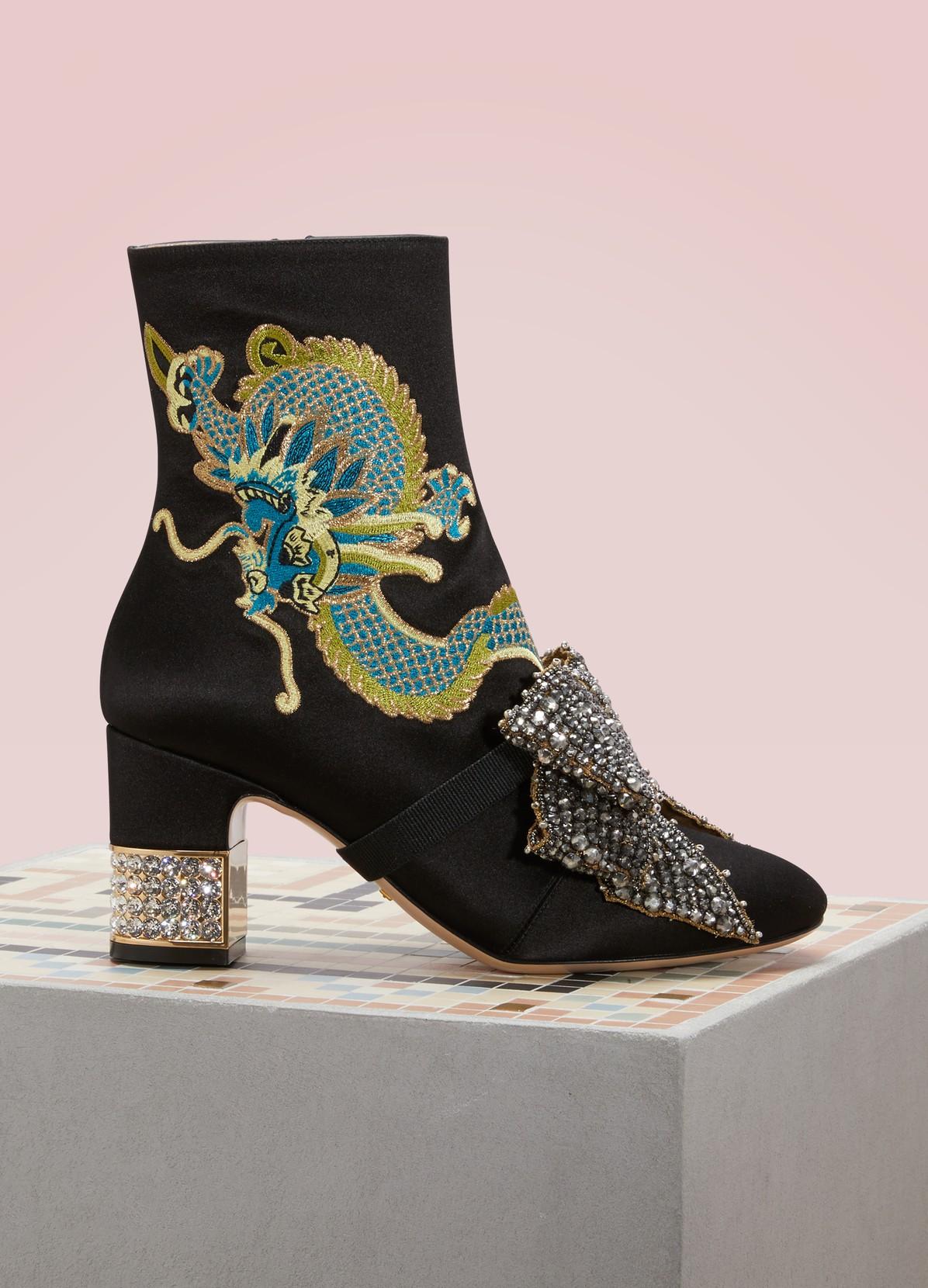 GUCCIDragon satin mid-heel ankle boots