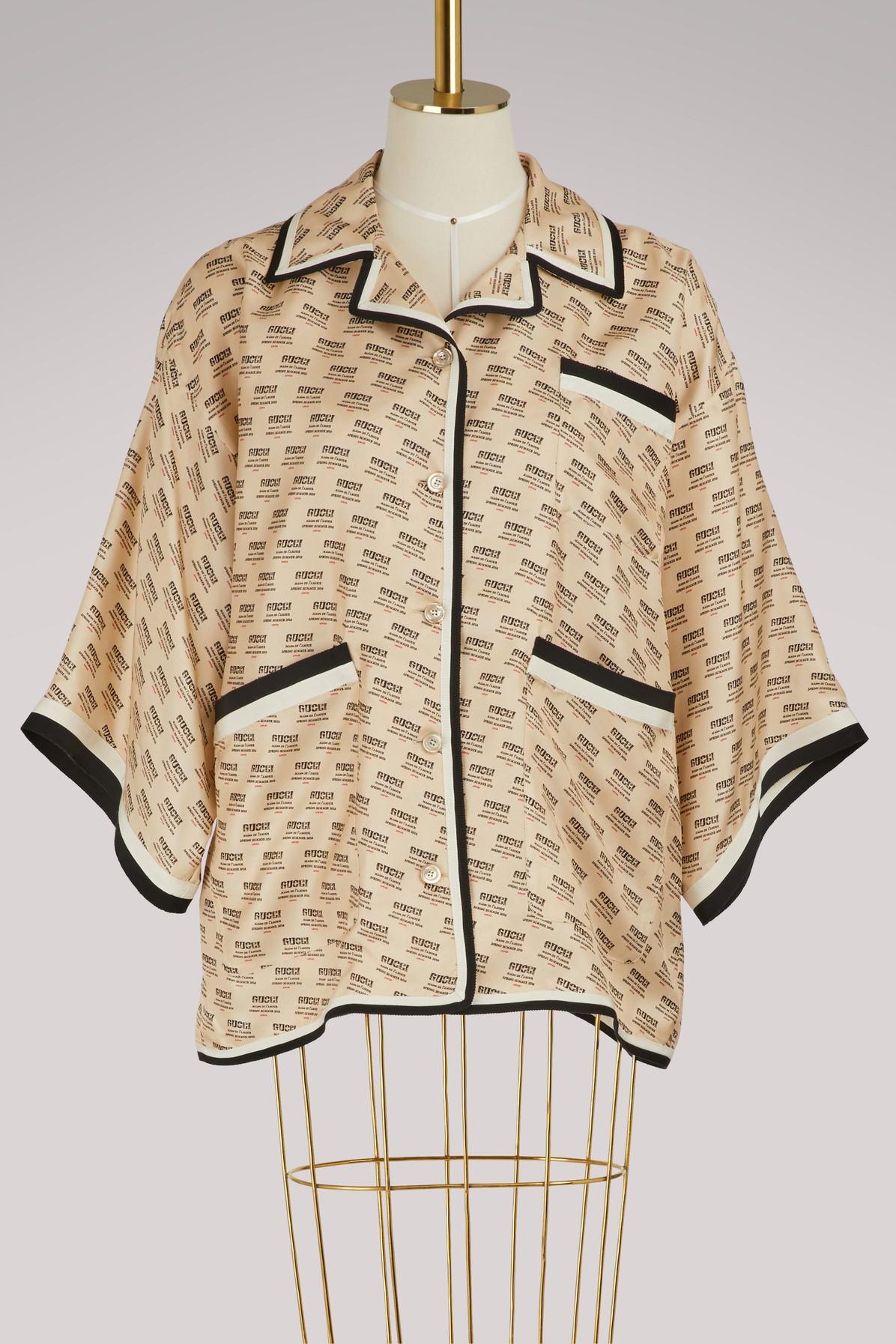 Chemise en soie à invitation Gucci façon cachet