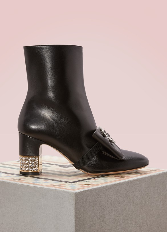 Gucci Leather Ankle Boots with Detachable Leather Bow