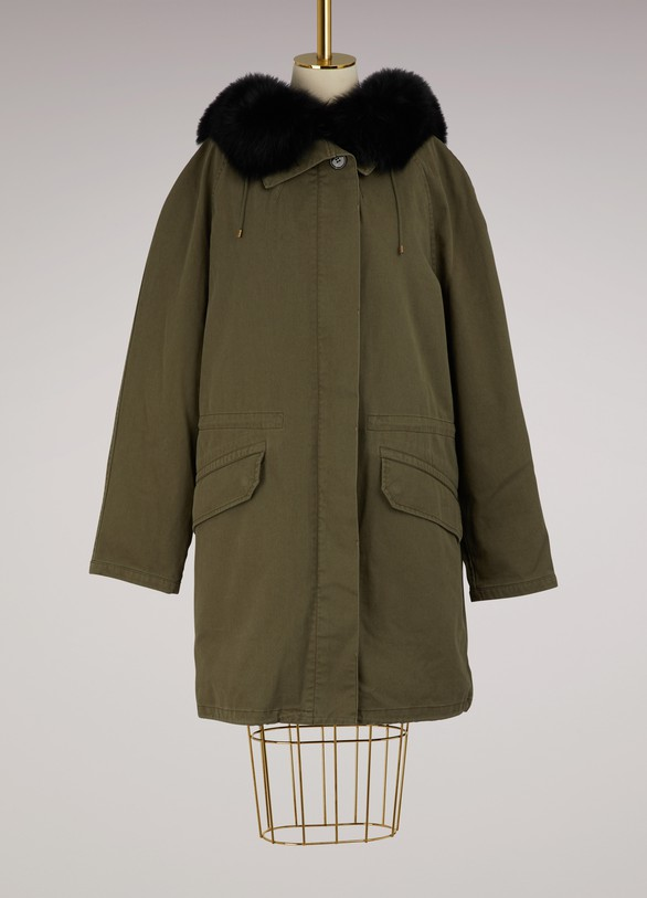 Yves Salomon - Army Rabbit and fox reversible parka