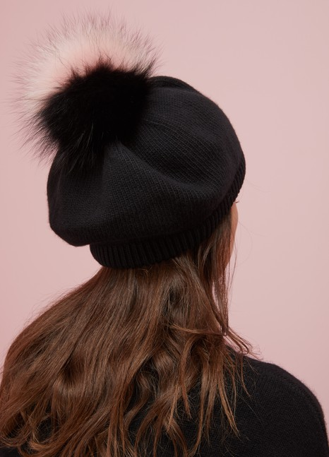Miu MiuWool and Cashmere Hat with Fur Pompom