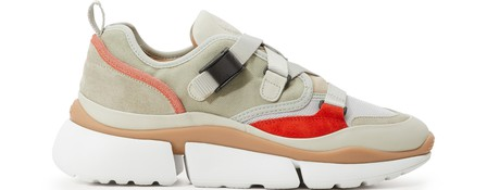 ChloÉ Multicoloured Sonnie Mesh Leather Sneakers In Light Eucalyptus