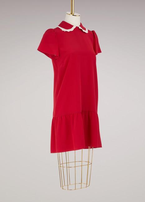 Red ValentinoPeter Pan collar ribbon dress