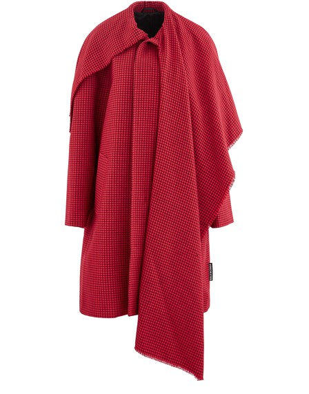 Balenciaga Cocoon Scarf Coat In Red Houndstooth Wool In 6400