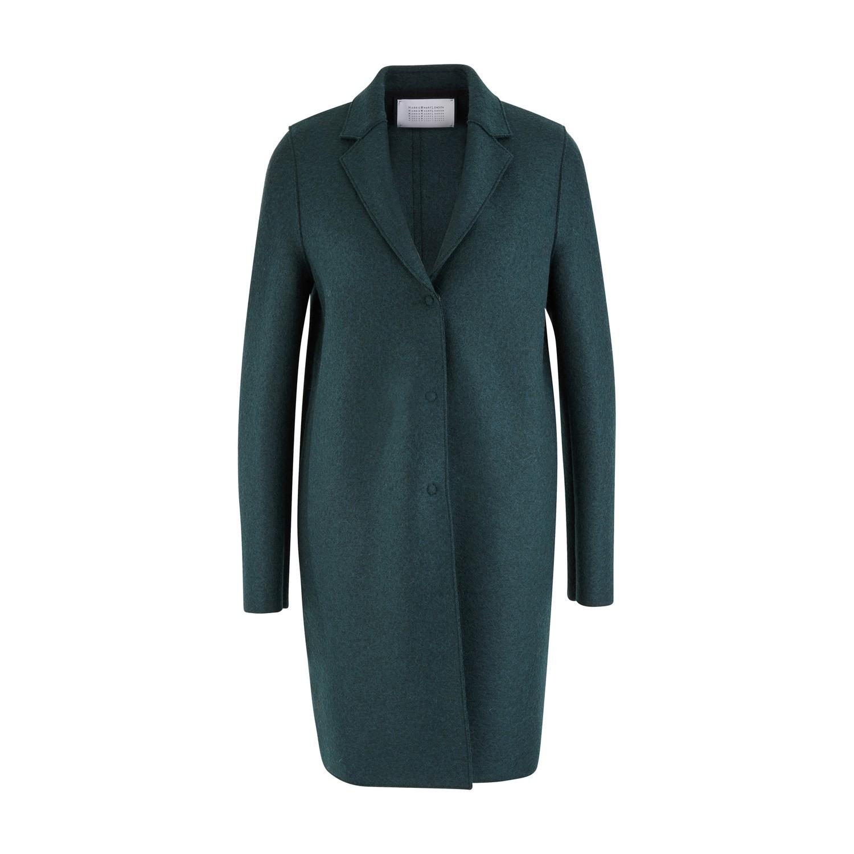 Harris Wharf London Cocoon Coat In Felted Wool In Bottle Green