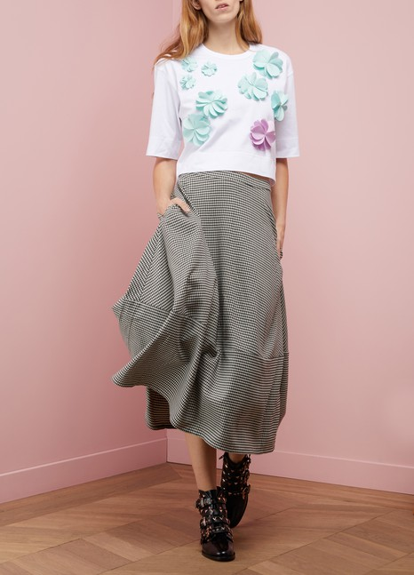 PASKALT-shirt fleurs croppé en coton