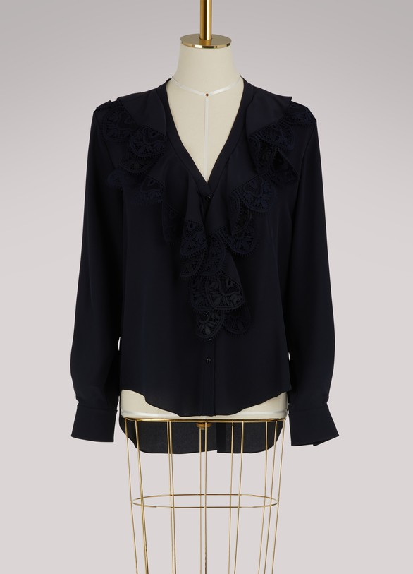 ChloéSilk shirt with lace ruffles