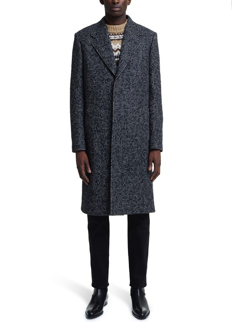 CELINELong Overcoat Manteau in micro tweed