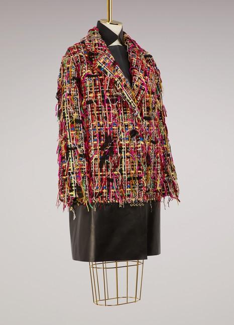 Alexander McQueenManteau oversize en tweed et cuir