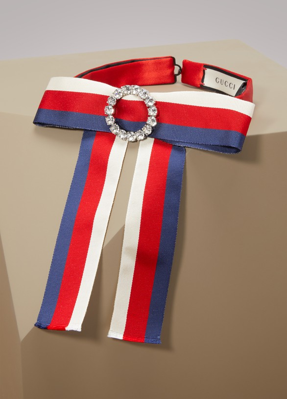 Gucci Jeweled Grosgrain Web Neck Bow