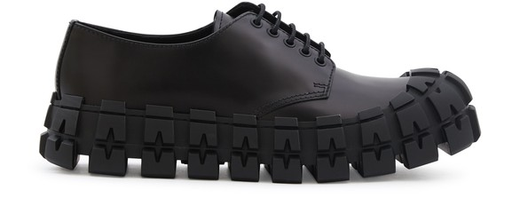 PRADABrushed Leather Laced Derby Shoes