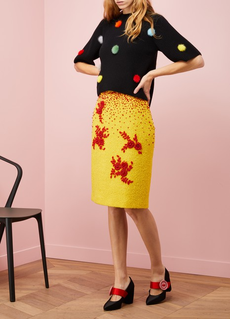 Prada Embroidered wool skirt