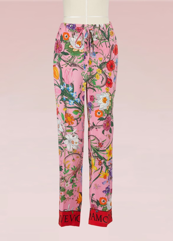 GucciFlora Snake Silk Pants
