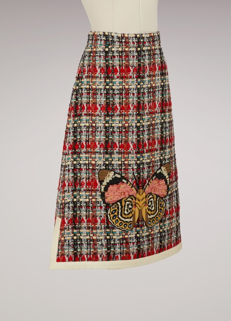 Gucci Multicolor tweed embroidered skirt