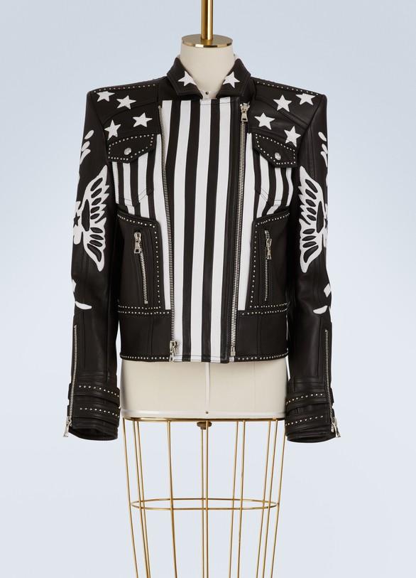 BalmainVeste en cuir à drapeau américain