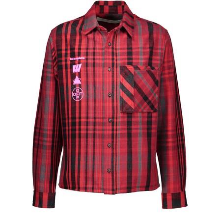 Off-White Mariana De Silva Checked Cotton-Blend Flannel Shirt In Red Multicolor