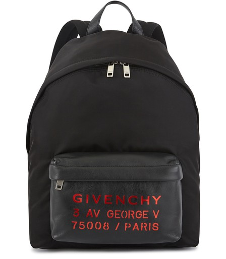 Givenchy Address Print Backpack In Black-Red