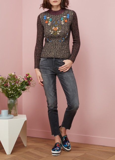Red Valentino Pull fleurs brodés