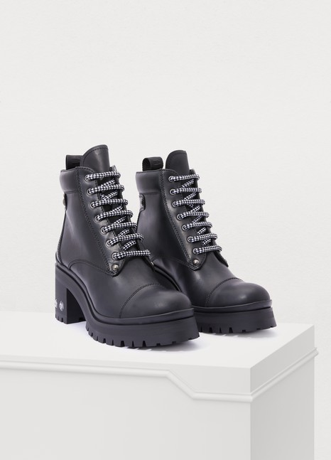 MIU MIU Laced leather ankle boots