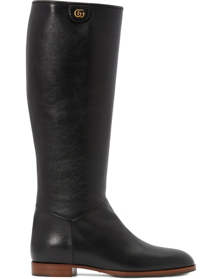 Gucci Rebelle Leather Boots In Black
