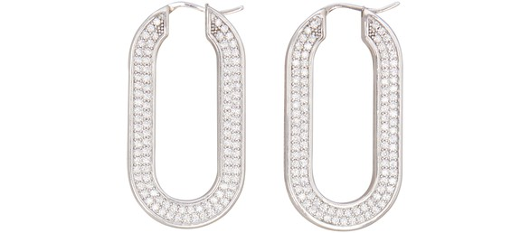 CELINE Edwige hoop earrings in brass with rhodium finish and crystals