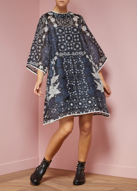 BiyanLang Silk Trapeze Dress