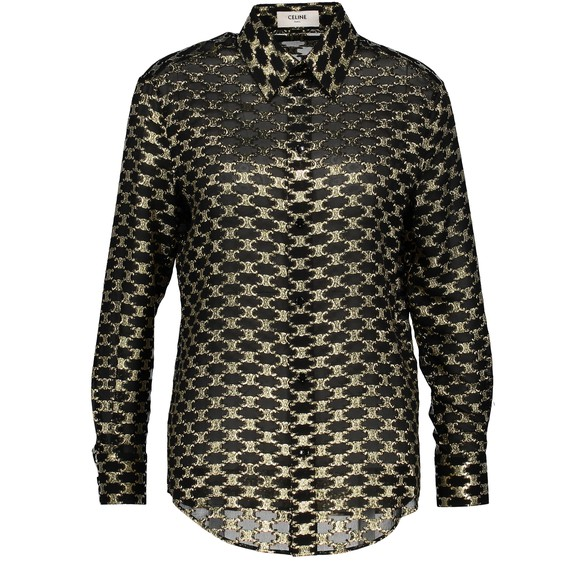 CELINELoose 'drugstore'-collar jacquard silk shirt