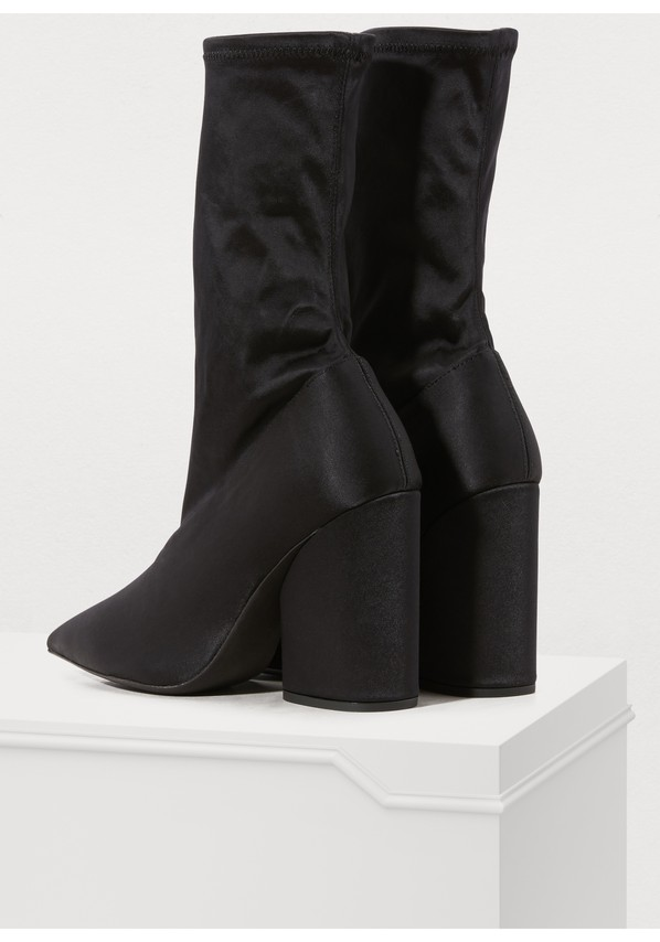 57f2cae68e2 ... Yeezy Stretch satin high-heeled ankle boots ...