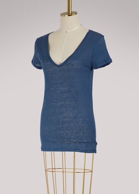 Majestic FilaturesT-shirt col V en lin