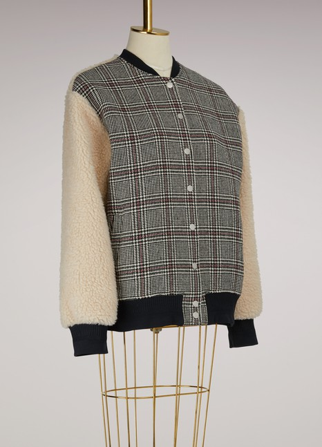 CarvenSheepskin Sleeves Teddy Jacket