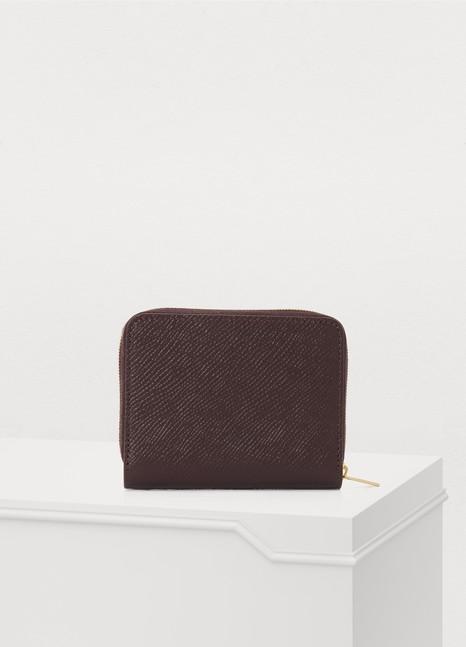 CelineZipped compact wallet in grained calfskin