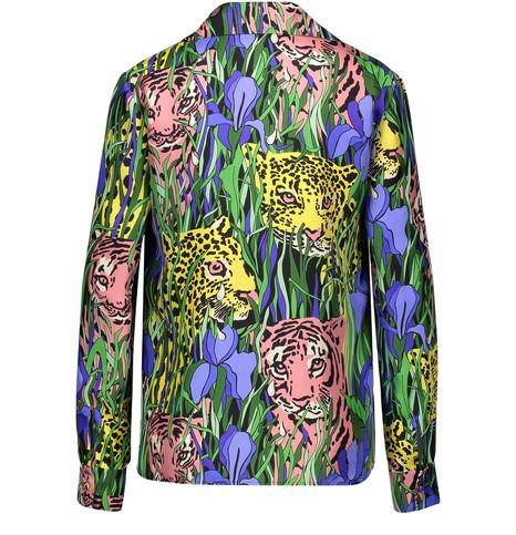 GUCCICat print silk shirt