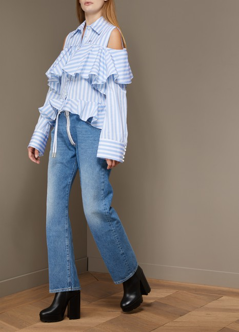 Off White Striped ruffle shirt