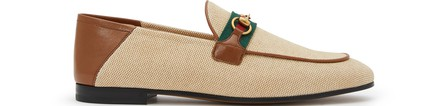 Gucci Slip On Shoes Canvas Charlotte  Canvas Logo Metallic Beige In Natural