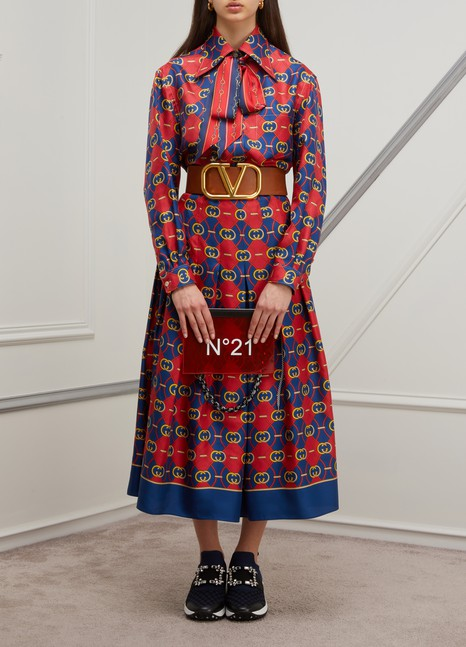 GUCCIGG waves pleated silk skirt