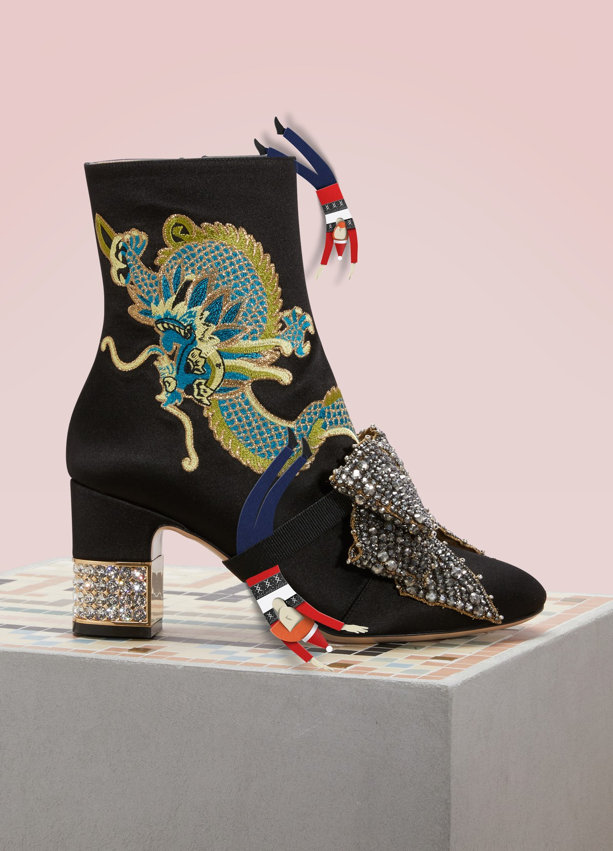 GUCCI Dragon satin mid-heel ankle boots