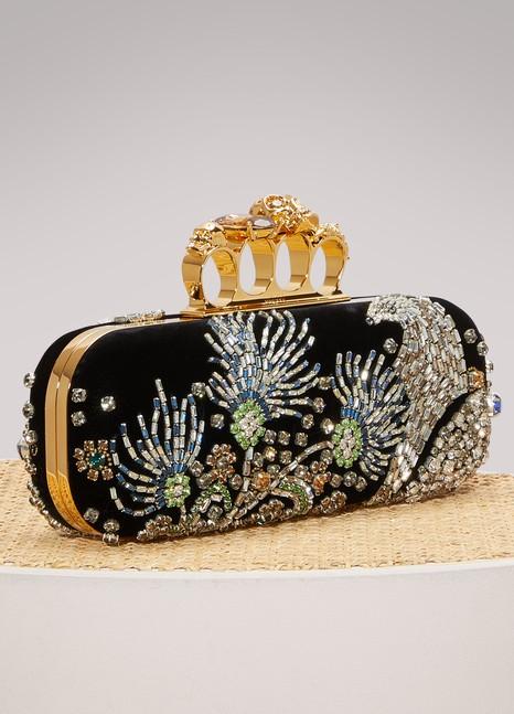 Alexander McQueenSilk Clutch with Jeweled Clasp