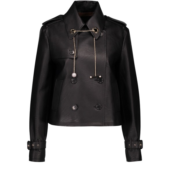COLIAC Pleated back leather jacket