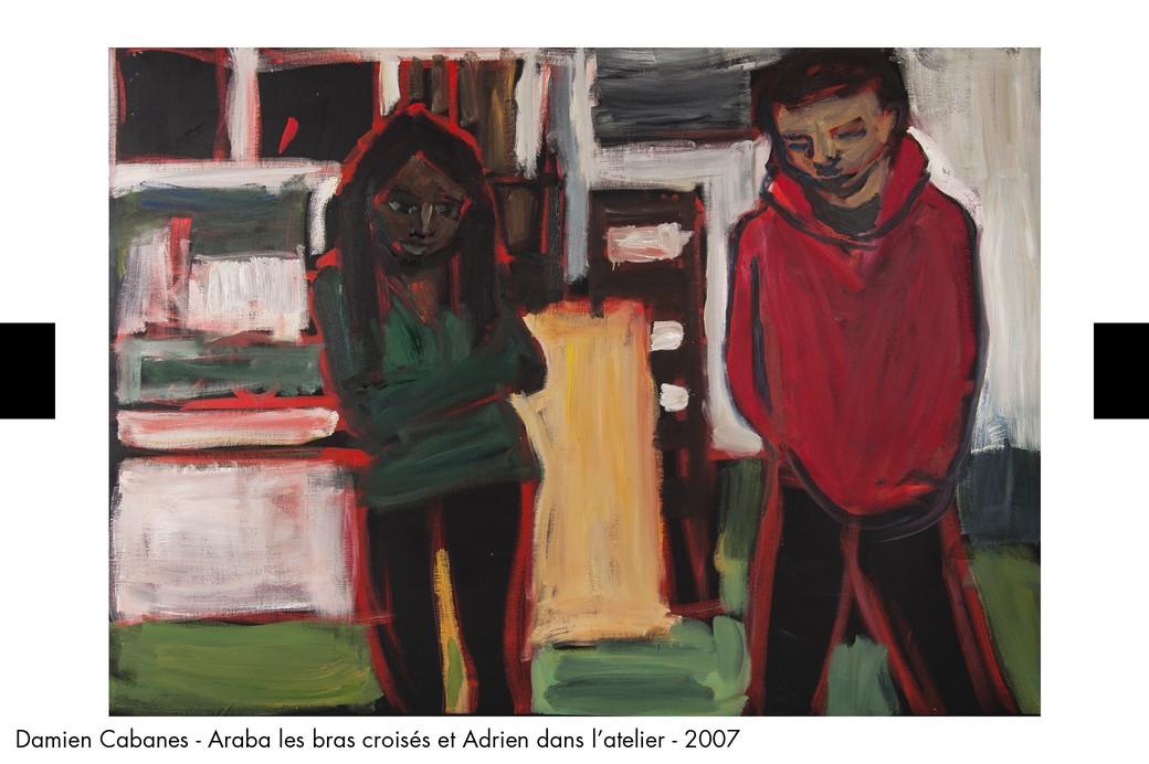 Damien Cabanes - Araba les bras croises et Adrien dans l atelier - 2007