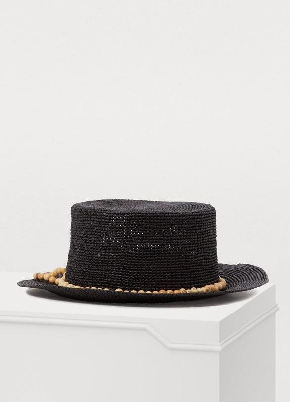 53be020f304f3 Chapeau de paille avec perles femme | SENSI STUDIO | 24S | 24S