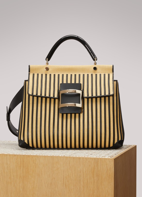 Roger Vivier Viv' Shirting Straw small tote bag