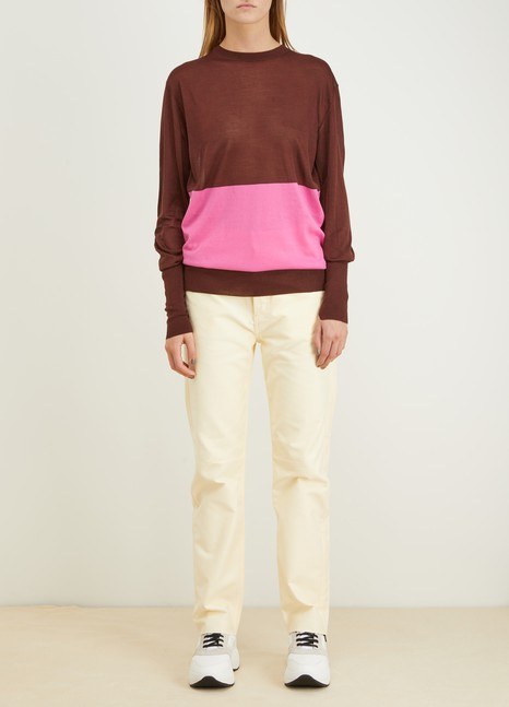Céline Colorblock silk and cotton crewneck sweater