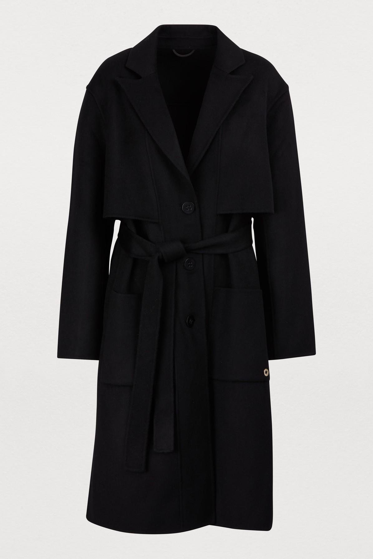 Manteau avec ceinture en laine