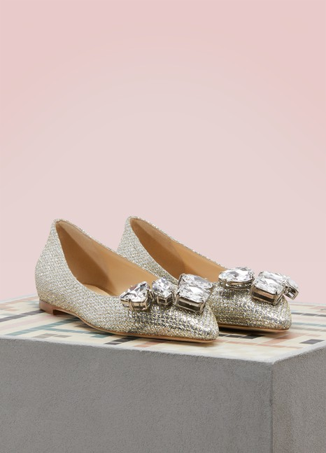 Jimmy Choo Marvel 85 glitter ballerinas